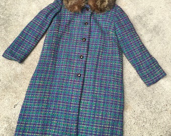 1960s Vintage Coat with Fur Collar - Colorful Weave - Purple Green Yellow Pink - Retro Hipster - Unique Bold Woven Coat - Retro - 42 Bust