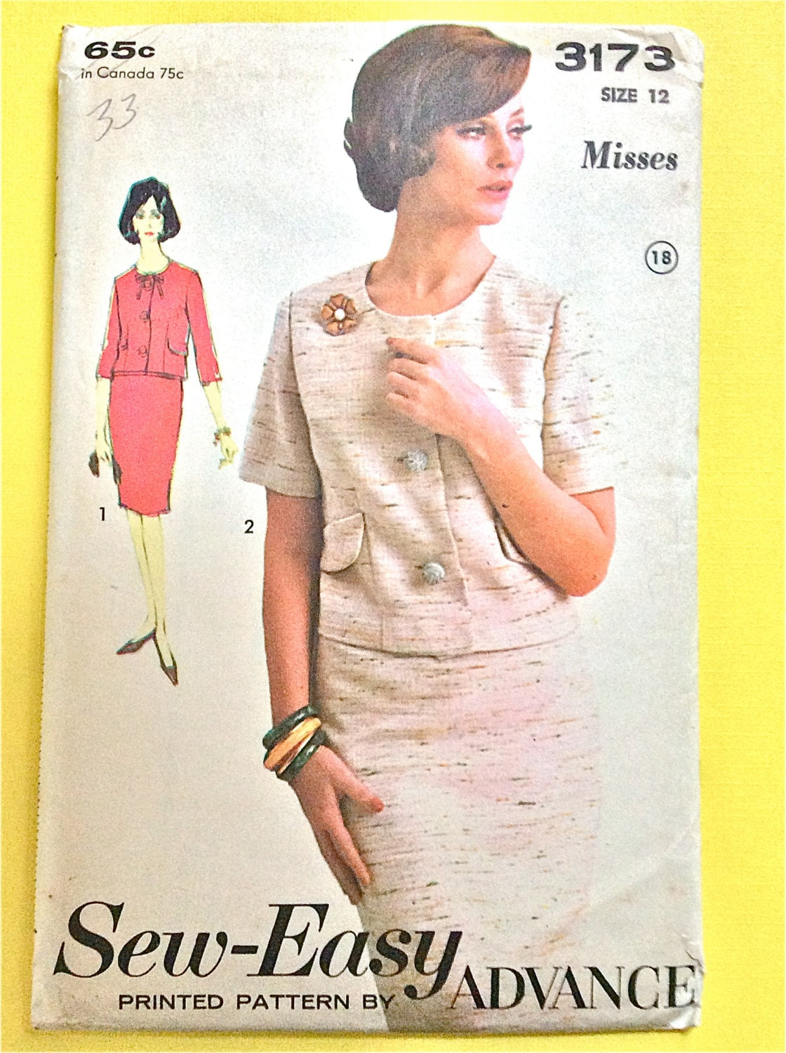 Misses suit sew easy advance 3173 box jacket slim skirt vintage sold by fancywork jeuxipadfo Gallery