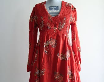 Smocked 60s / 70s boho floral mini dress by Rag Dolls San Francisco sz. Small / Medium