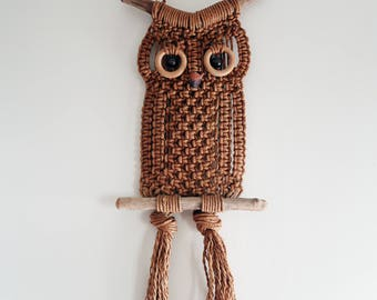 Rope OWL 60s / 70s hippie decor wall art