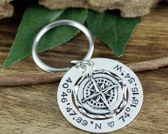 Latitude Longitude KeyChain, Gps Coordinates KeyChain, Personalized Key Chain, Location Keychain, Anniversary Keychain, Wedding Gift