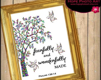 Wonderfully Made Bible Scripture Psalms 139:14 Digital Collage Sheet 8x10 Image Transfer Wall Art Instant Download Printable UPrint 300jpg
