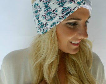 Teal Paisley & Lace Twist Head Wrap Messy Bun Wrap Lace Headband or Choose Your Print
