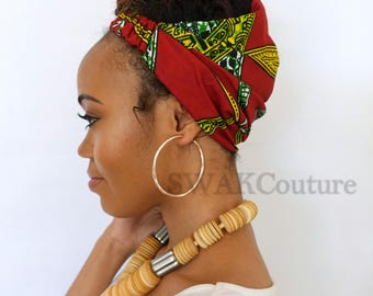Satin Lined Headband Wide Headband Wrap Pineapple Bun Wrap Ankara African Print Wrap Turban - Djenaba or Choose Print