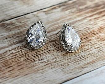Vintage Style Pear Tear Drop Shaped earrings, Wedding earrings, Bridesmaid earrings, bridal crystal earrings, 1920 earrings - 'ANNIKA'
