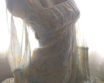 1970's Vintage Gunne Sax Blue & Yellow Floral Bridal Victorian Prairie Gown~5