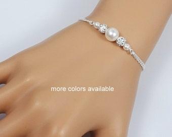 Pearl Wedding Bracelet, Bridesmaid Gift, Bridesmaid Bracelet, Bridal Party Gift, Wedding Jewelry, Bridesmaid Jewelry, White Pearl Bracelet