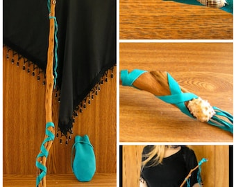 "Magic 27 1/2""  Crystal - Desert Blue Sage - Sea Shell - Turquoise Leather Wrapped Wand and Leather pouch"