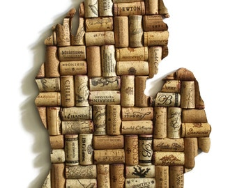 Michigan art - wine gifts - Michigan wall art - Michigan wall decor - wine cork art - cork art - state art - upcycled art - wine decor - MI