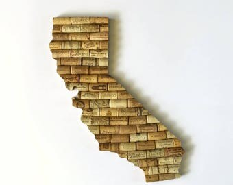 state signs - california wall art - going away gift - california map - state cutout - cork art - wine gifts - housewarming gift - wine decor