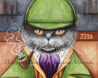 Sherlock Homes, British Shorthair Cat Artwork, T-shirts, Sweatshirts, Nightshirts, Cards