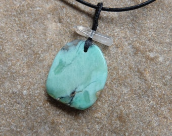 Lemon Chrysoprase, Clear Quartz pendant necklace - Australian gem stone jewelry, handmade unique