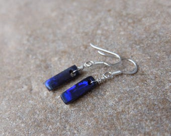 Small blue Boulder Opal earrings -  gem stone earrings - one of a kind handmade in Australia on sterling silver ear hooks