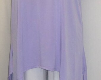 Coco and Juan, Lagenlook, Plus Size Tunic, Purple Lavender, Traveler Knit Angled, Women's Tank Top, Size 1 Fits 1X,2X Bust  to 50 inches