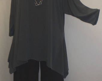 Lagenlook, Plus Size Top, Coco and Juan, Charcoal Gray, Traveler Knit Drape Side, Womens Tunic Top, One Size Bust  to 60 inches