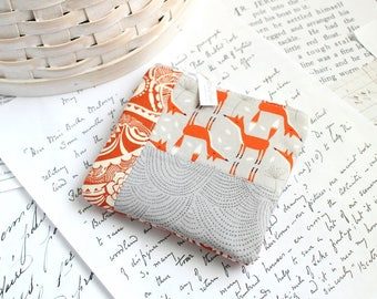 Orange and Gray Coin Purse Foxes Change Purse Patchwork Gift Card Holder Back to School Students