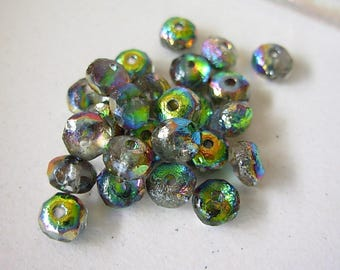 Rondelle Beads, Fire Polished, Czech Etched Glass Beads, 7x4mm- Northern Lights (20)