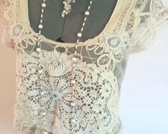 beige lace blouse, victorian edwardian, hand embellished, lace appliques, unique one of a kind, faux pearls, boho blouse