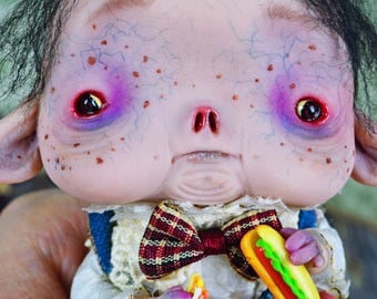 EXTRA SALE!! - Lord Gordi - art doll,Little glutton, little boy, doll, gluttony, whimsical, ooak pure sculpt, handmade doll, miniature doll,