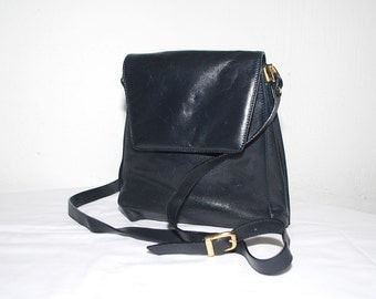 80s 90s navy leather bag. minimalist bag. dark blue shoulder purse