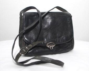 80s 90s black leather bag. shoulder bag. simple crossbody purse