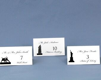 NYC Landmark Silhouette Wedding Place Cards