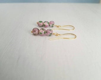 Pretty vintage pink glass beads, wire wrapped, gold plated  earrings.
