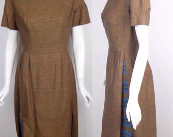 Vintage 50s Panel Dress Pin Up Taliored Avant Garde Couture Handmade Square Neck Layered Mid Century VLV