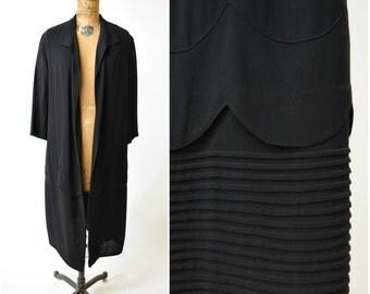 20s Black Duster Coat / Day Jacket w Art Deco Pintucked Details & Scalloped Design // Gatsby Era Elegance, Flapper Finery, Vamp Attire