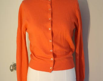 Vintage 100% Cashmere Cardigan: Orange 1950s Braemar Scottish Fitted Sweater S M