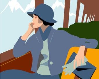 Handmade Travel Journal, Train Travel, Woman on a Train