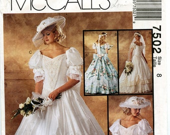 McCalls 7505 UNCUT Wedding Gown Sewing Pattern Bridal Bridesmaid Dress Size 8 Small XS
