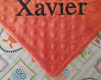 Personalized Monogrammed Baby Security Lovey Blanket Monsters Minky Baby Boy 17x17