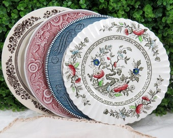 "Set of 4 Mismatched Ironstone Transferware China 10"" Dinner Plates, Mix and Match, Colorful, Vintage Wedding or Tea Party Wall Decor, DP63"