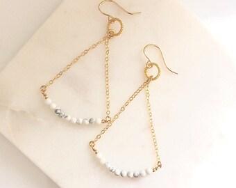 Gold Balance earrings in marble - long gold danglys - chain earrings
