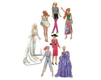 1980s Barbie Wardrobe Pattern Fashion Doll Wedding Gown Capri Pants Mini Dress Swimsuit Evening Dress Simplicity 6507 Vintage Sewing Pattern