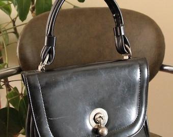 Vintage Black Faux Leather Handbag