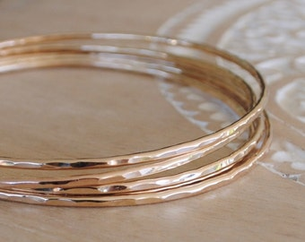 Artisan Gold Bangle, Gold Bracelet, Stacking Bangles, Thin Bangle, Hammered Bangle, Gold Filled Bangle, Clothing Gift, Bohemian Jewelry