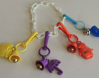 1980s Plastic Charm Bracelet 4 Charms Russ JAPAN
