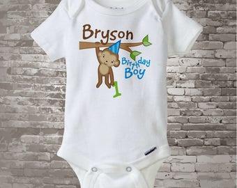 First Monkey Birthday Onesie, Personalized Birthday Boy Monkey Shirt or Onesie any age 12312013b1