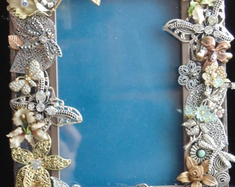 Shabby Romantic Frame Upcycled Jewelry Rhinestone Florals Butterflies