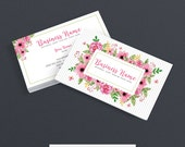 Business Card Designs - Etsy Shop Business Cards - 2 Sided Printable Business Card Design - Floral Business Card Design - FAA