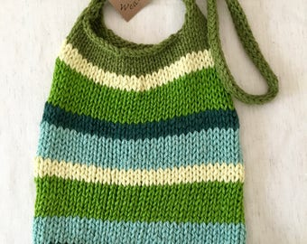 Hand Knit Stripey Bag, Fun Colors