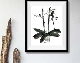 Orchid ink drawing, original ink painting, modern art, orchid plant drawing, Black Sumi ink, Japanese inspired art, modern home
