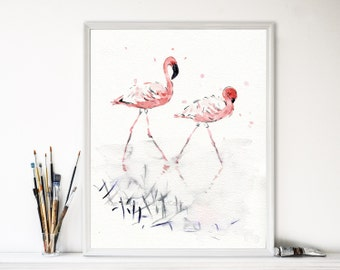 Flamingos art print, pink Flamingo watercolor print, flamingo art, birds art, coral, salmon pink, home decor, wild life art, tropical art