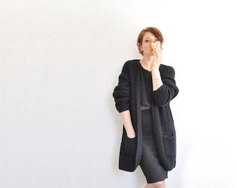 noir black sweater jacket . long duster cardigan .medium.large