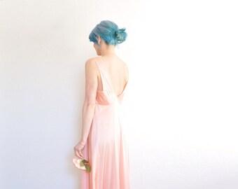 coral peach 1940 lingerie gown . floor length hollywood regency dress .medium .sale