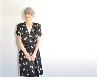 black 1980 leaf print dress . nature pattern novelty frock .small.medium