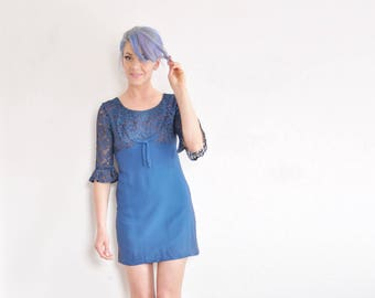 lace mod 1960 mod mini dress . bell sleeves . dark aquamarine blue .extra small.small.xs .donate good cause