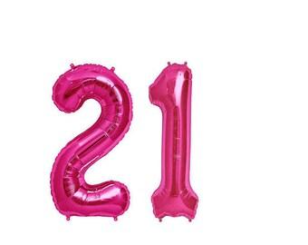 Pink 21 Balloon, 21st Birthday Photo Prop, 21st Birthday Balloons, Pink Number 21, Number Photo Prop, 21 Balloon, 21st Birthday